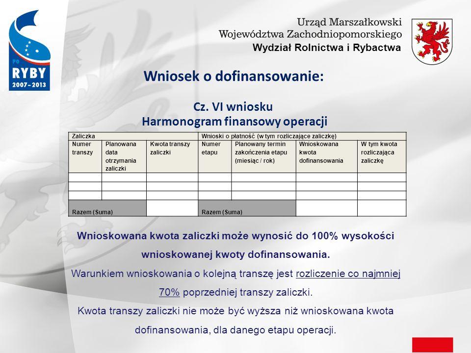 Wydział Rolnictwa i Rybactwa Wniosek o dofinansowanie: Cz.