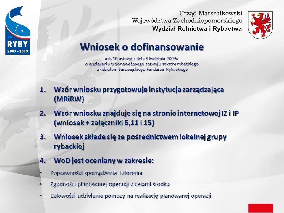 Wydział Rolnictwa i Rybactwa Ogłoszenie konkursu Rozporządzenie MRiRW z dnia 15 października 2009r.