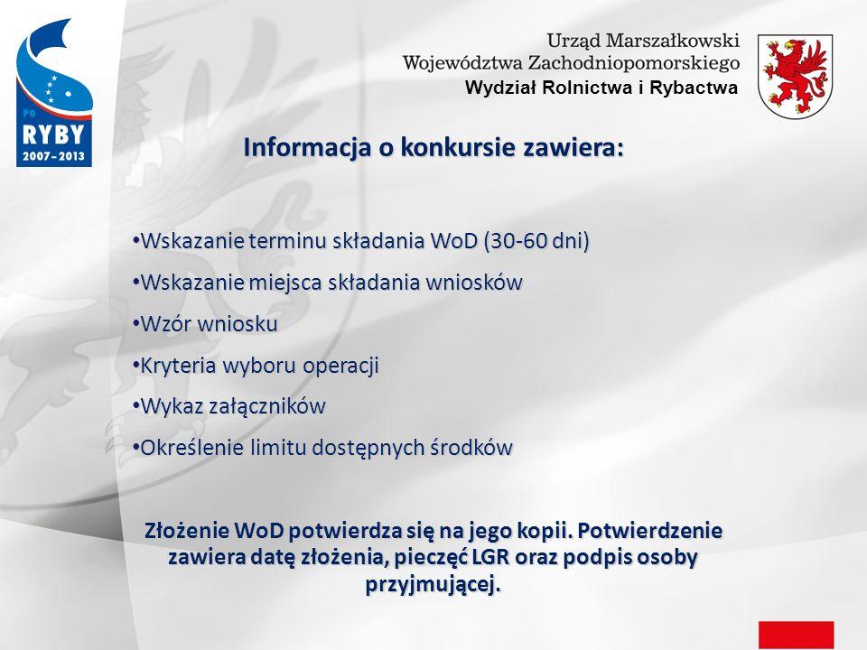 Wydział Rolnictwa i Rybactwa Procedura wyboru operacji przez Komitet: Pisemne poinformowanie wnioskodawców o wybraniu albo niewybraniu operacji i liczbie uzyskanych pkt.