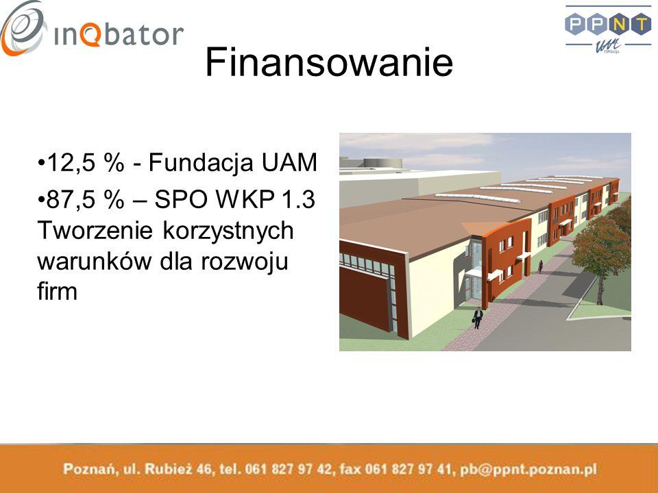 Finansowanie 12,5 % - Fundacja UAM 87,5 % – SPO WKP 1.3 Tworzenie korzystnych warunków dla rozwoju firm