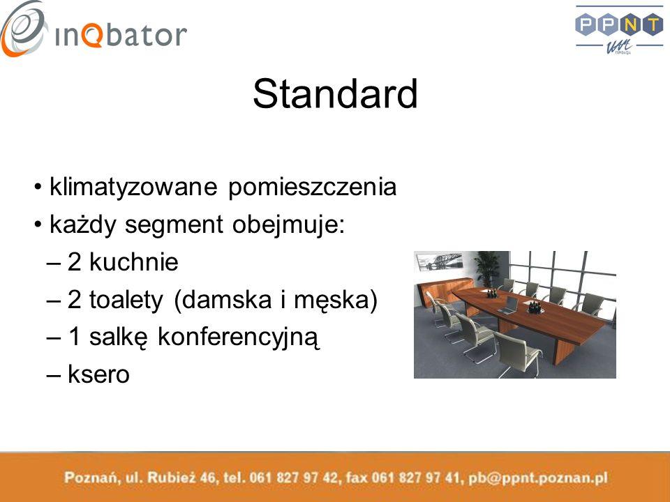 Standard klimatyzowane pomieszczenia każdy segment obejmuje: –2 kuchnie –2 toalety (damska i męska) –1 salkę konferencyjną –ksero