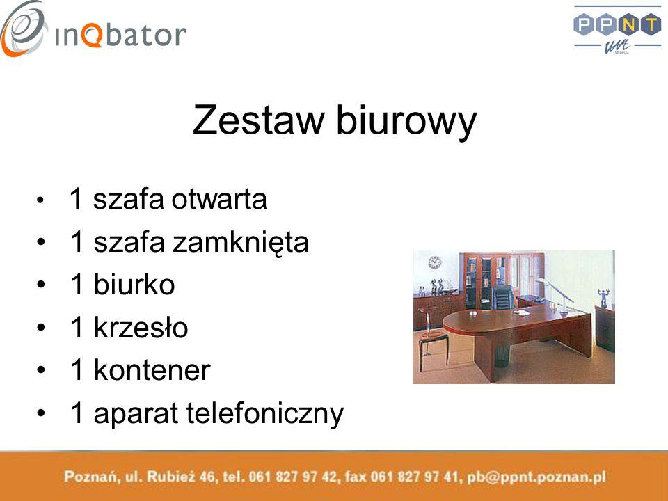 Zestaw biurowy 1 szafa otwarta 1 szafa zamknięta 1 biurko 1 krzesło 1 kontener 1 aparat telefoniczny