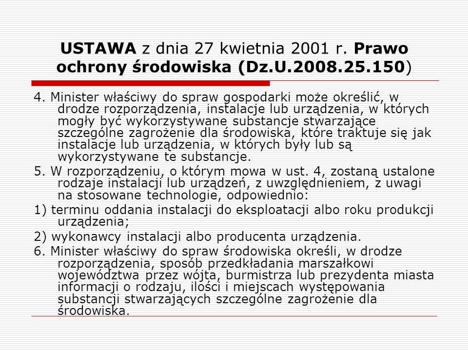 USTAWA z dnia 27 kwietnia 2001 r. Prawo ochrony środowiska (Dz.U.2008.25.150) 4. Minister właściwy do spraw gospodarki może określić, w drodze rozporz