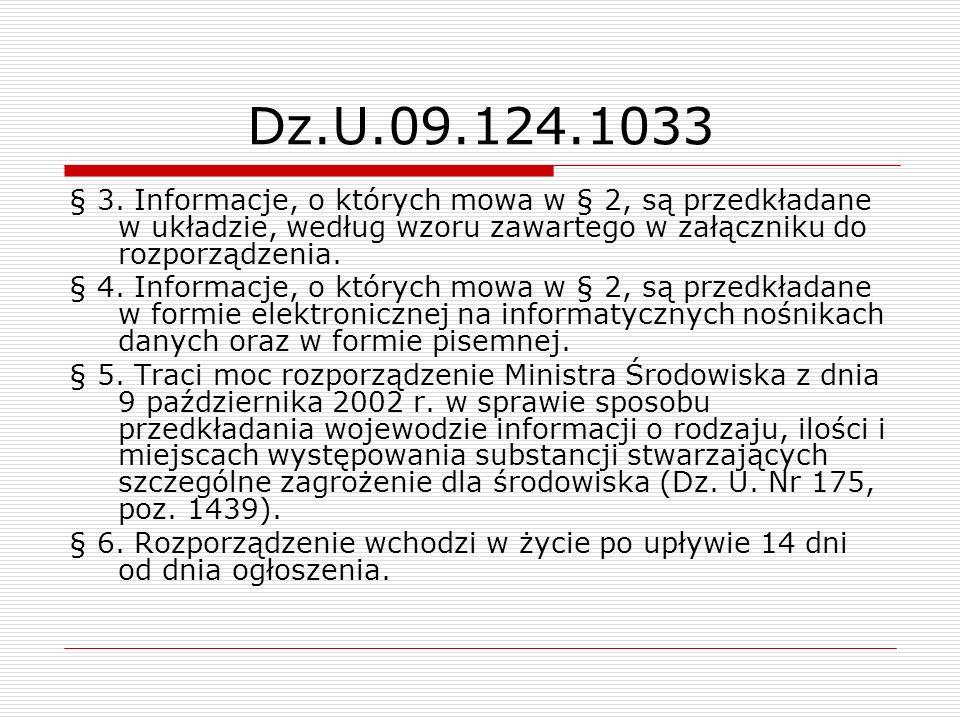Dz.U.09.124.1033 § 3. Informacje, o których mowa w § 2, są przedkładane w układzie, według wzoru zawartego w załączniku do rozporządzenia. § 4. Inform