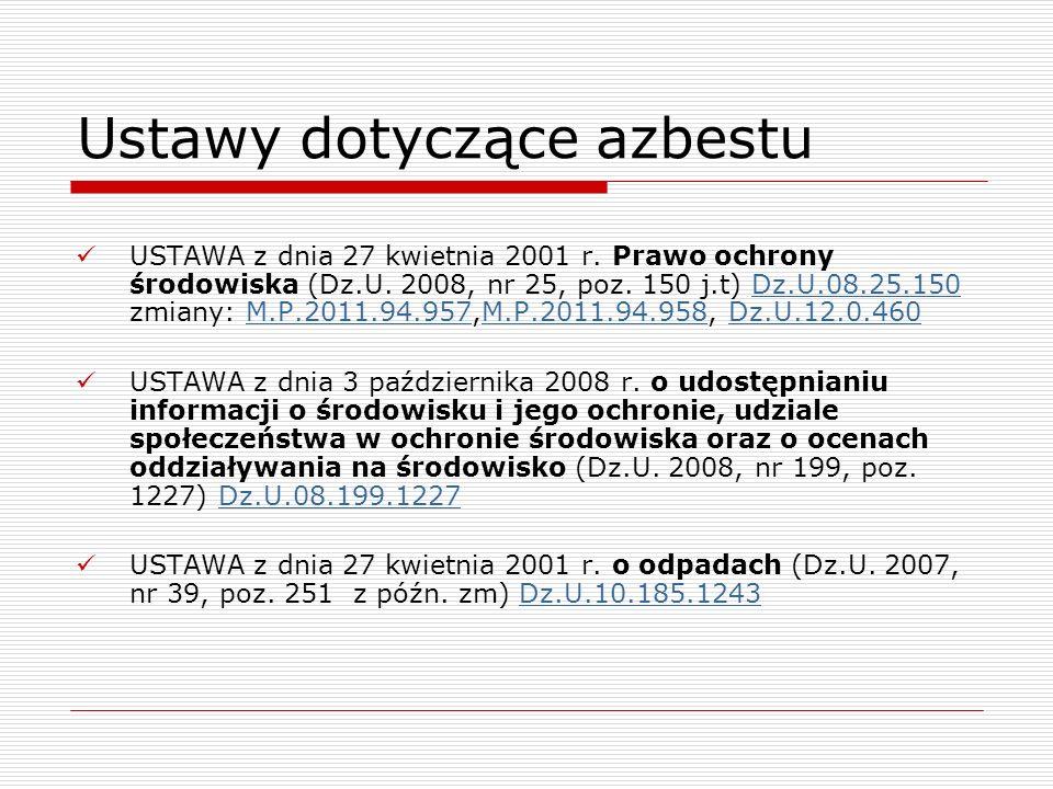Ustawy dotyczące azbestu USTAWA z dnia 27 kwietnia 2001 r. Prawo ochrony środowiska (Dz.U. 2008, nr 25, poz. 150 j.t) Dz.U.08.25.150 zmiany: M.P.2011.