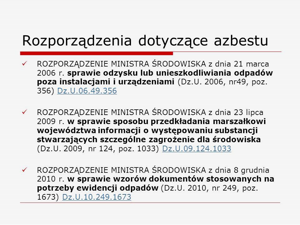 Rozporządzenia dotyczące azbestu ROZPORZĄDZENIE MINISTRA ŚRODOWISKA z dnia 21 marca 2006 r. sprawie odzysku lub unieszkodliwiania odpadów poza instala
