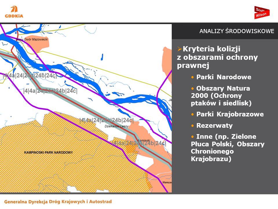 ANALIZY ŚRODOWISKOWE Kryteria kolizji z obszarami ochrony prawnej Parki Narodowe Obszary Natura 2000 (Ochrony ptaków i siedlisk) Parki Krajobrazowe Rezerwaty Inne (np.