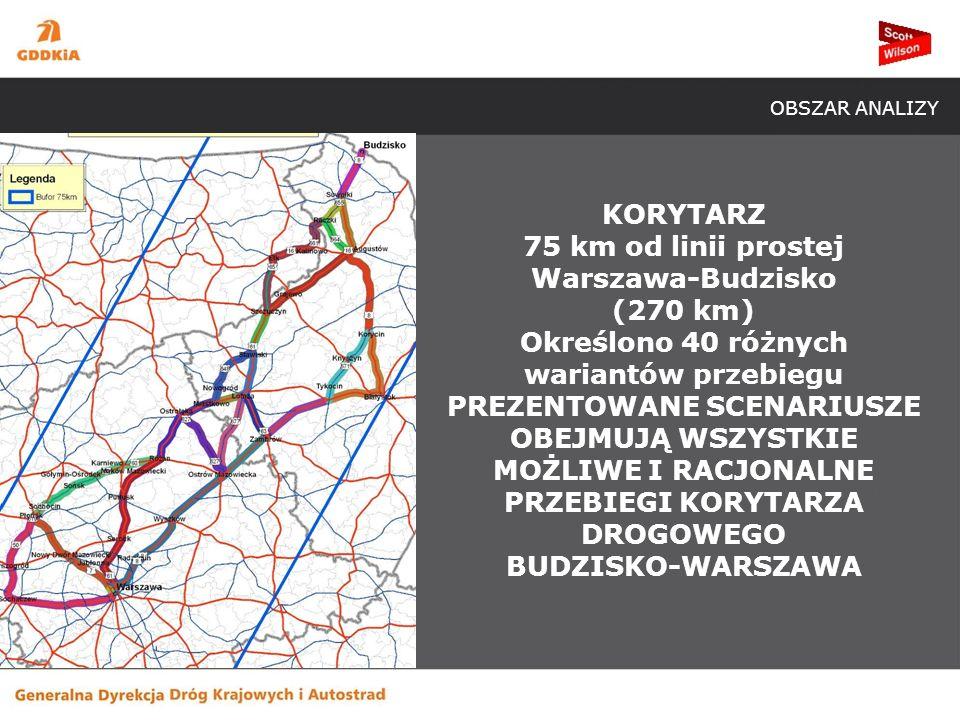 KORYTARZ 75 km od linii prostej Warszawa-Budzisko (270 km) Określono 40 różnych wariantów przebiegu PREZENTOWANE SCENARIUSZE OBEJMUJĄ WSZYSTKIE MOŻLIWE I RACJONALNE PRZEBIEGI KORYTARZA DROGOWEGO BUDZISKO-WARSZAWA OBSZAR ANALIZY