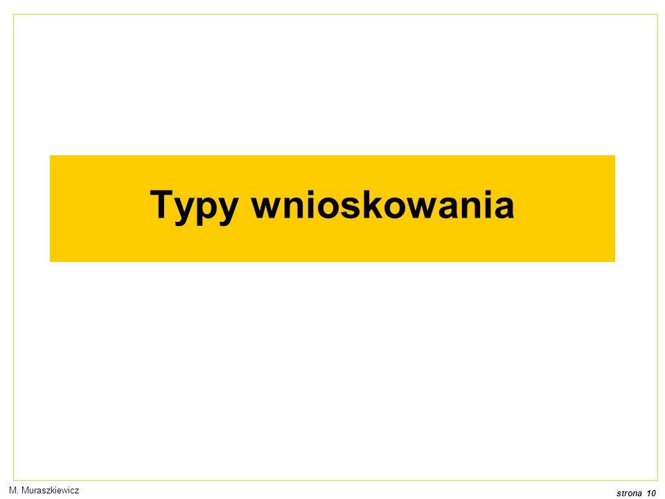 strona 10 M. Muraszkiewicz Typy wnioskowania