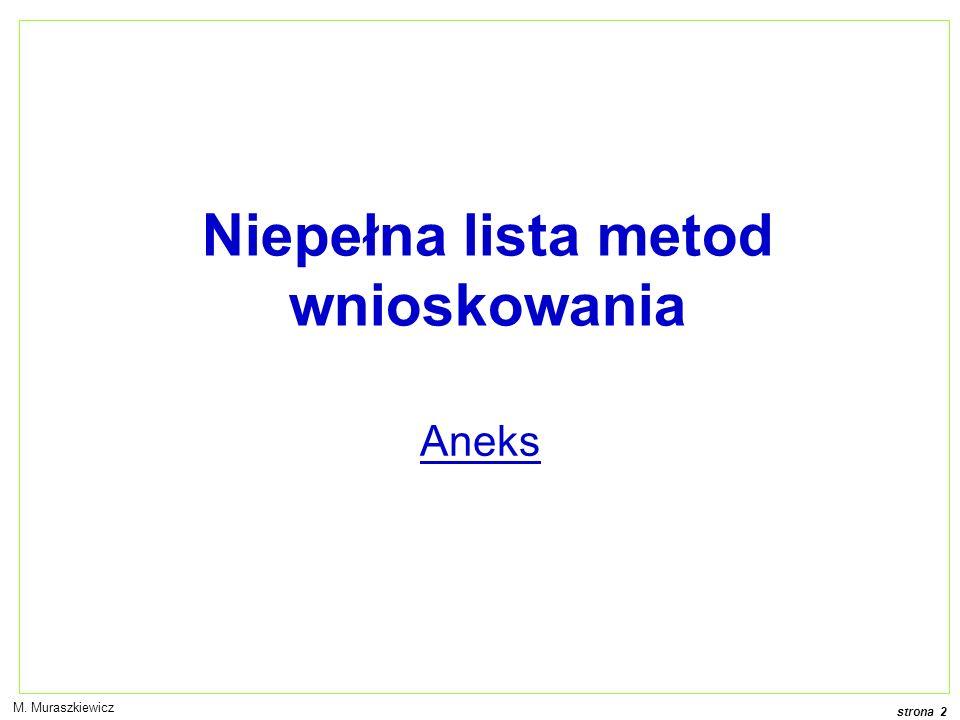 strona 2 M. Muraszkiewicz Aneks Niepełna lista metod wnioskowania