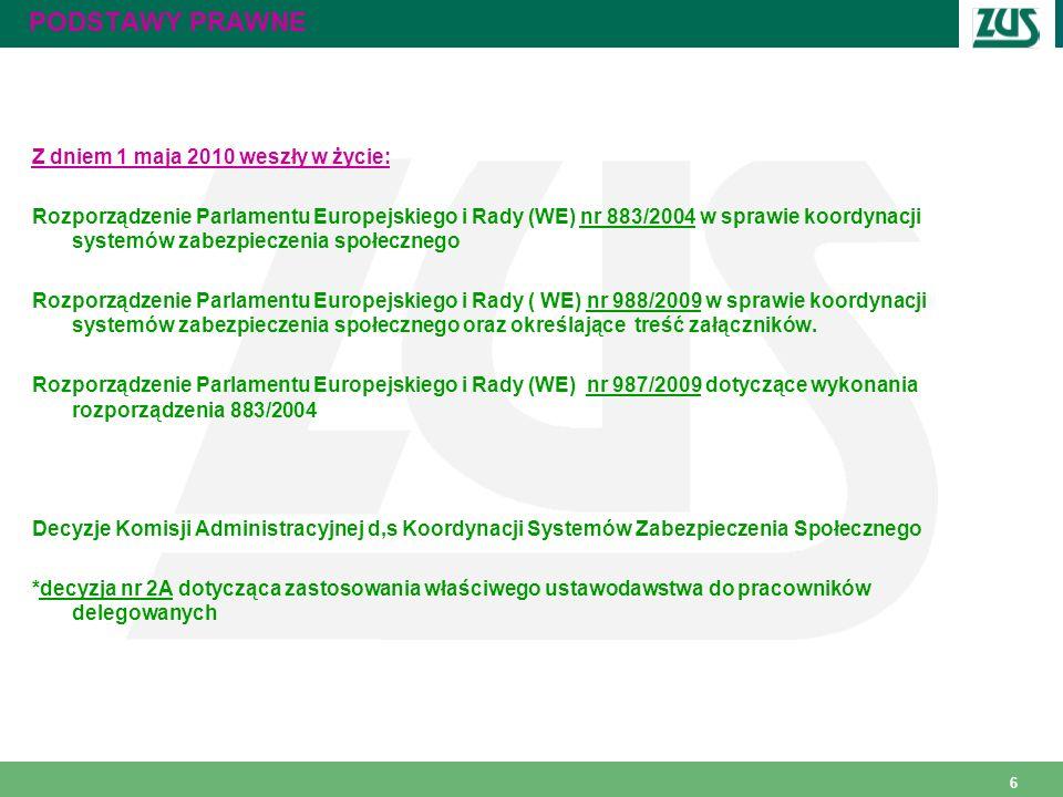 6 PODSTAWY PRAWNE Z dniem 1 maja 2010 weszły w życie: Rozporządzenie Parlamentu Europejskiego i Rady (WE) nr 883/2004 w sprawie koordynacji systemów z