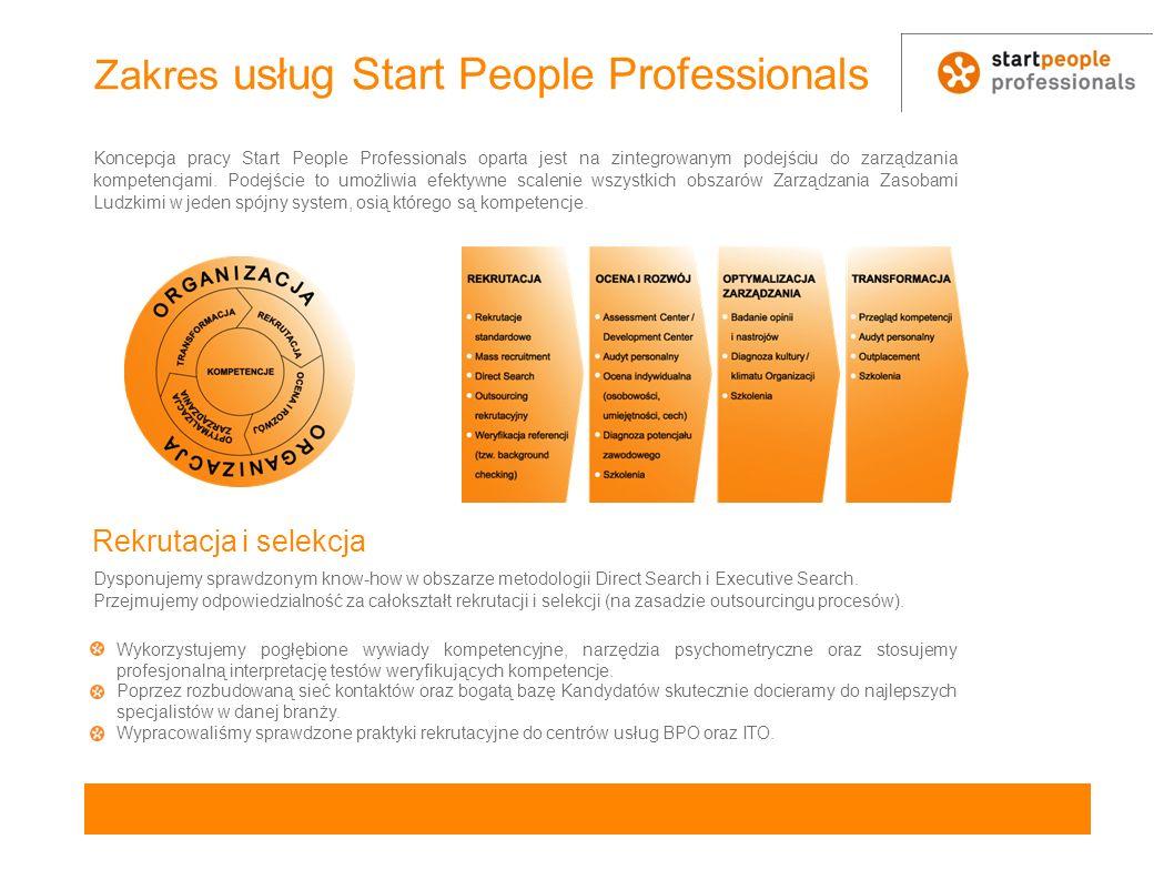 Zakres usług Start People Professionals Koncepcja pracy Start People Professionals oparta jest na zintegrowanym podejściu do zarządzania kompetencjami