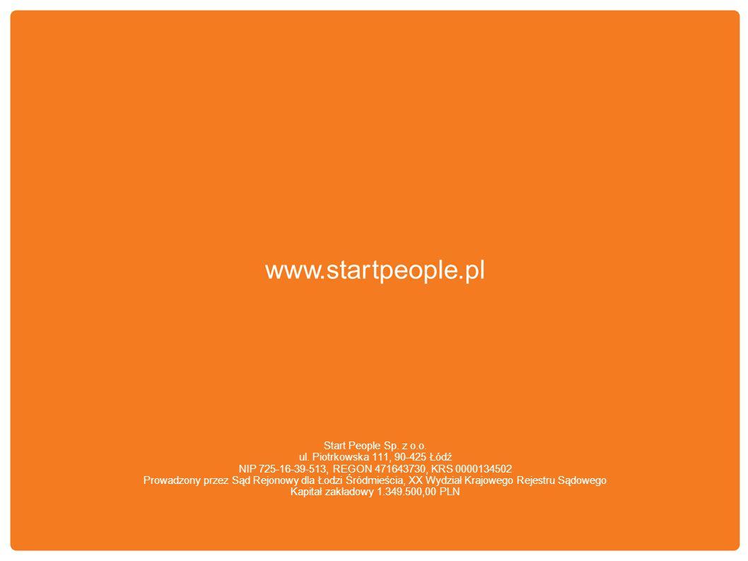 Start People Sp. z o.o. ul. Piotrkowska 111, 90-425 Łódź NIP 725-16-39-513, REGON 471643730, KRS 0000134502 Prowadzony przez Sąd Rejonowy dla Łodzi Śr
