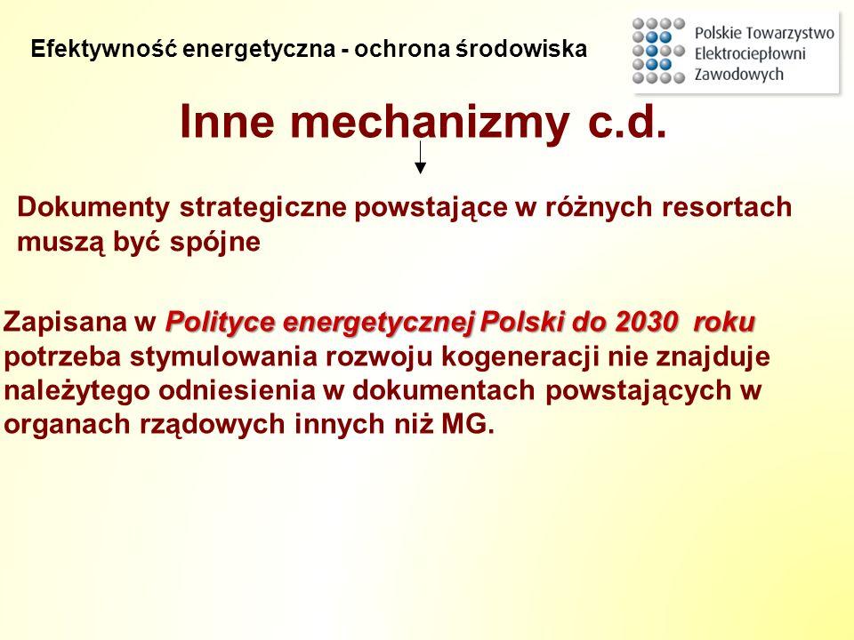 Inne mechanizmy c.d. Polityce energetycznej Polski do 2030 roku Zapisana w Polityce energetycznej Polski do 2030 roku potrzeba stymulowania rozwoju ko
