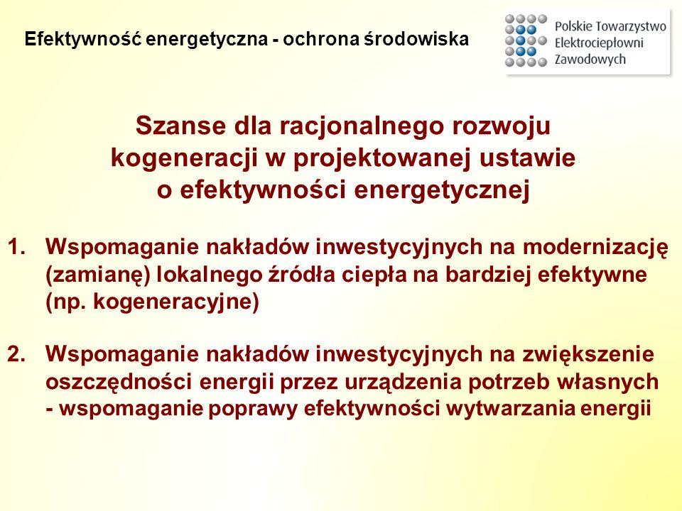 Szanse dla racjonalnego rozwoju kogeneracji w projektowanej ustawie o efektywności energetycznej 2.Wspomaganie nakładów inwestycyjnych na zwiększenie