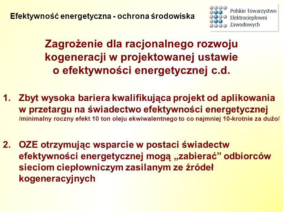 Zagrożenie dla racjonalnego rozwoju kogeneracji w projektowanej ustawie o efektywności energetycznej c.d. 2.OZE otrzymując wsparcie w postaci świadect