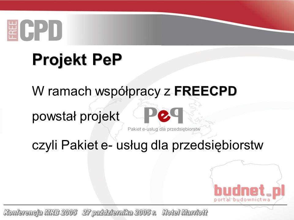 FREECPD W ramach współpracy z FREECPD powstał projekt czyli Pakiet e- usług dla przedsiębiorstw Projekt PeP