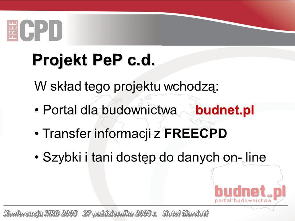 W skład tego projektu wchodzą: budnet.pl Portal dla budownictwa budnet.pl Transfer informacji z FREECPD Szybki i tani dostęp do danych on- line Projek