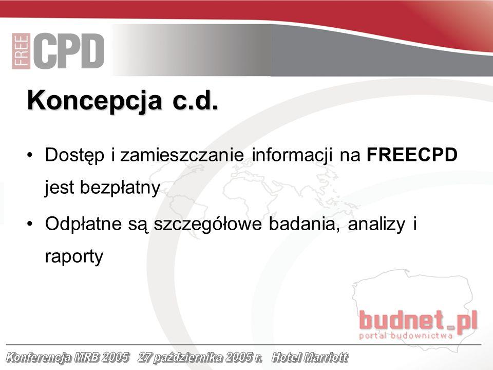 Dostęp i zamieszczanie informacji na FREECPD jest bezpłatny Odpłatne są szczegółowe badania, analizy i raporty Koncepcja c.d.