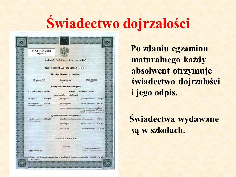 Świadectwo dojrzałości Po zdaniu egzaminu maturalnego każdy absolwent otrzymuje świadectwo dojrzałości i jego odpis.