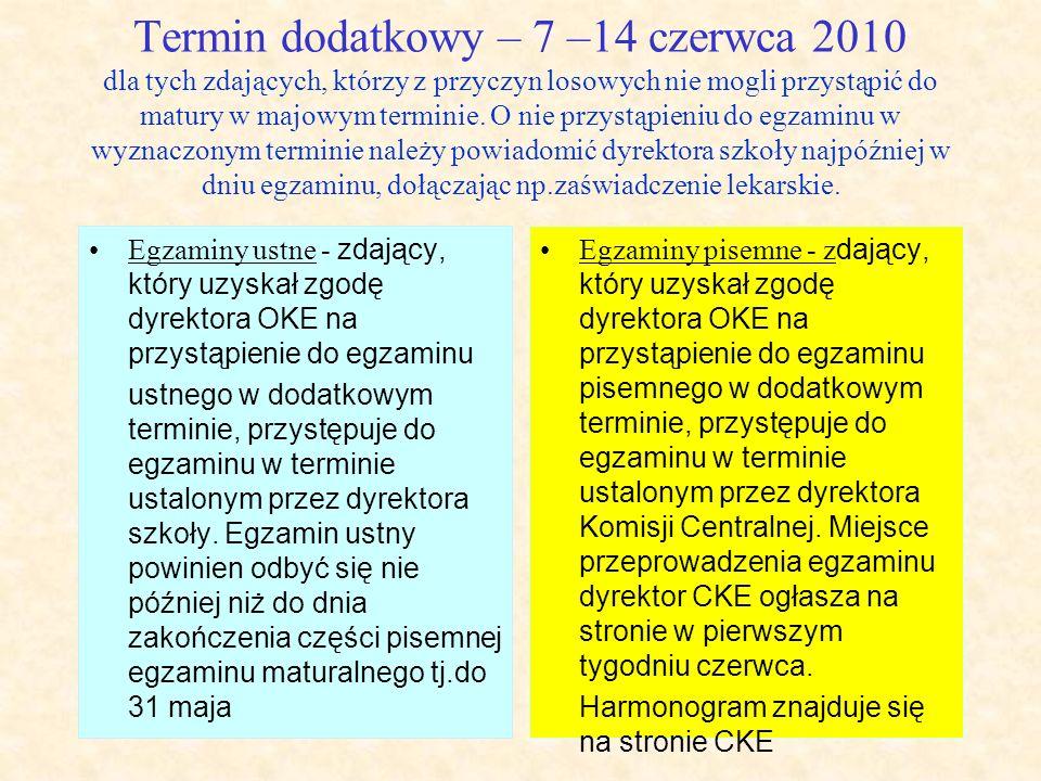 Termin dodatkowy – 7 –14 czerwca 2010 dla tych zdających, którzy z przyczyn losowych nie mogli przystąpić do matury w majowym terminie. O nie przystąp