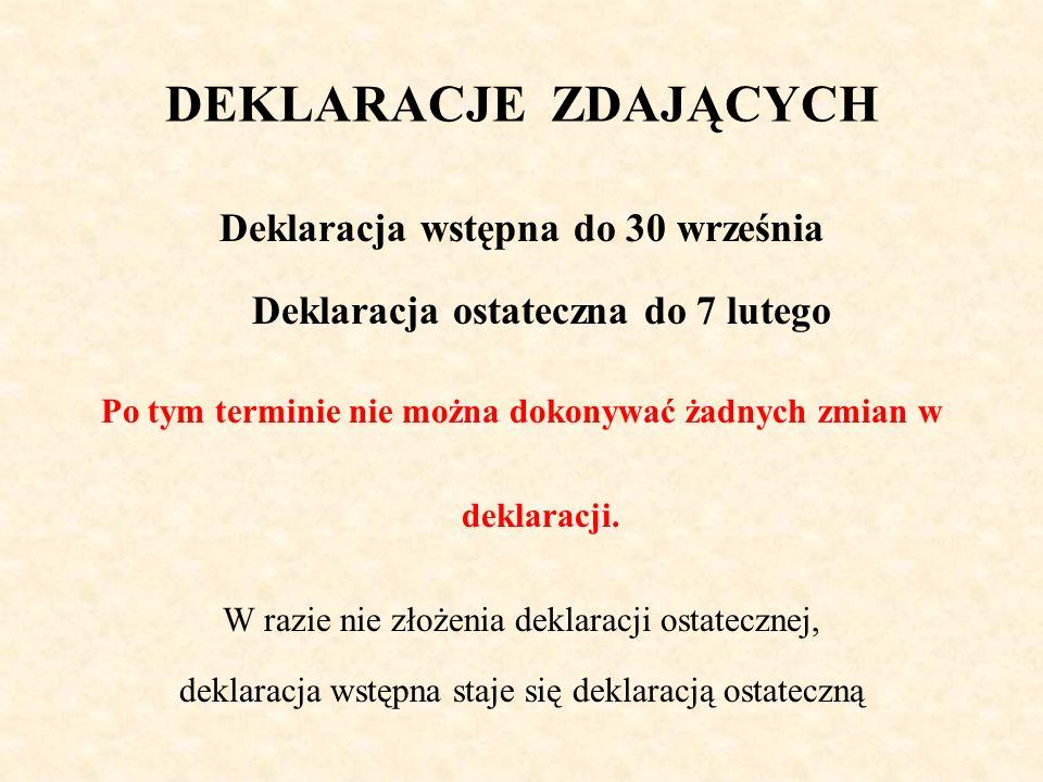 DEKLARACJE ZDAJĄCYCH Deklaracja wstępna do 30 września Deklaracja ostateczna do 7 lutego Po tym terminie nie można dokonywać żadnych zmian w deklaracji.