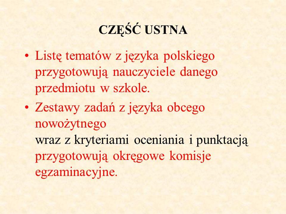 CZĘŚĆ USTNA Listę tematów z języka polskiego przygotowują nauczyciele danego przedmiotu w szkole. Zestawy zadań z języka obcego nowożytnego wraz z kry