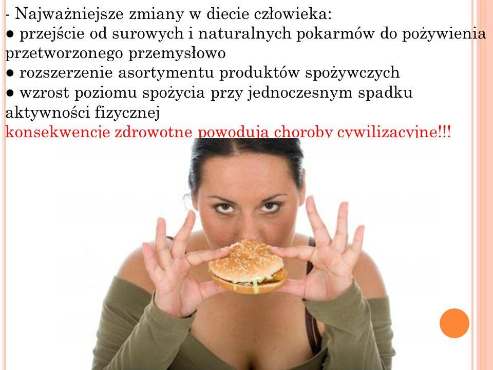 - Najważniejsze zmiany w diecie człowieka: przejście od surowych i naturalnych pokarmów do pożywienia przetworzonego przemysłowo rozszerzenie asortyme