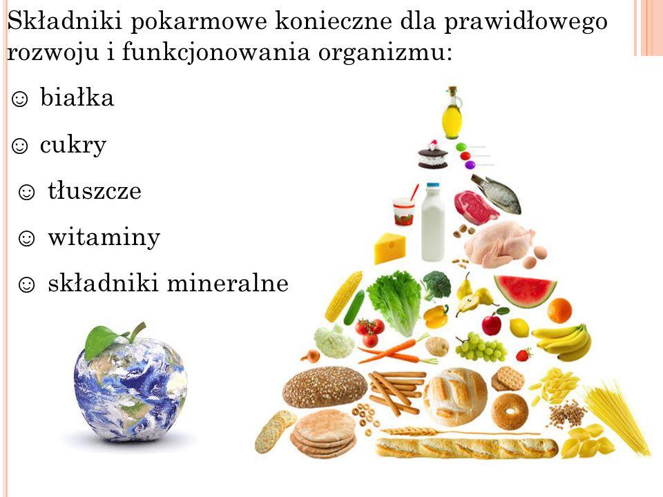 Składniki pokarmowe konieczne dla prawidłowego rozwoju i funkcjonowania organizmu: białka cukry tłuszcze witaminy składniki mineralne