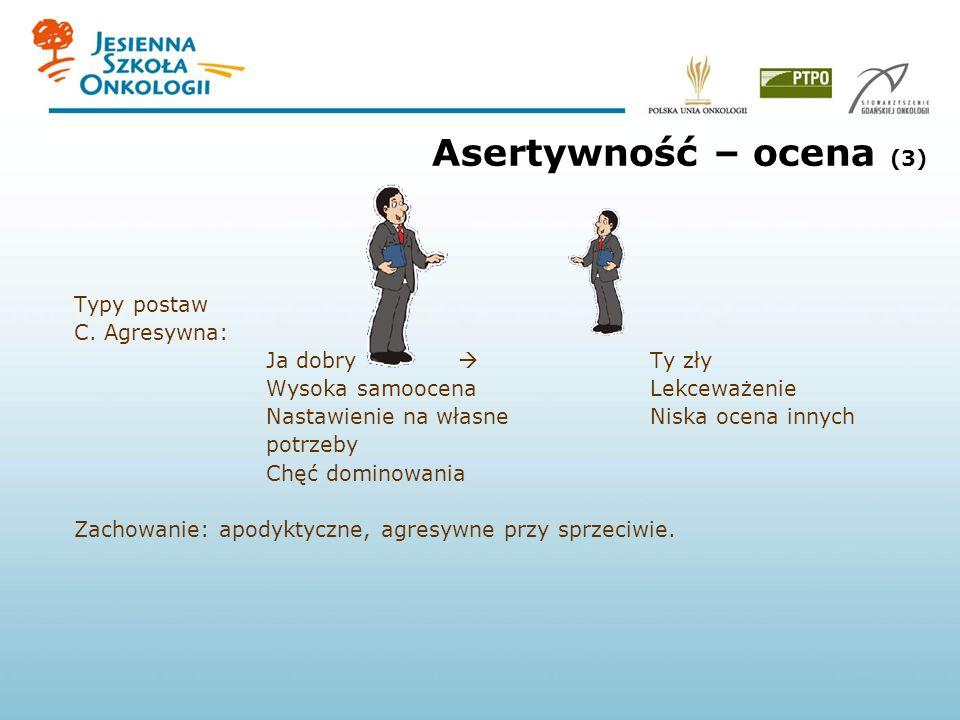 Asertywność – ocena (3) Typy postaw C. Agresywna: Ja dobry Ty zły Wysoka samoocenaLekceważenie Nastawienie na własne Niska ocena innych potrzeby Chęć