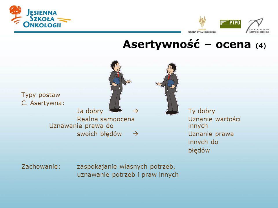 Asertywność – ocena (4) Typy postaw C. Asertywna: Ja dobry Ty dobry Realna samoocenaUznanie wartości Uznawanie prawa do innych swoich błędów Uznanie p