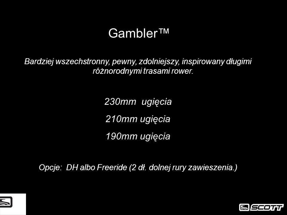 Bardziej wszechstronny, pewny, zdolniejszy, inspirowany długimi różnorodnymi trasami rower. 230mm ugięcia 210mm ugięcia 190mm ugięcia Opcje: DH albo F