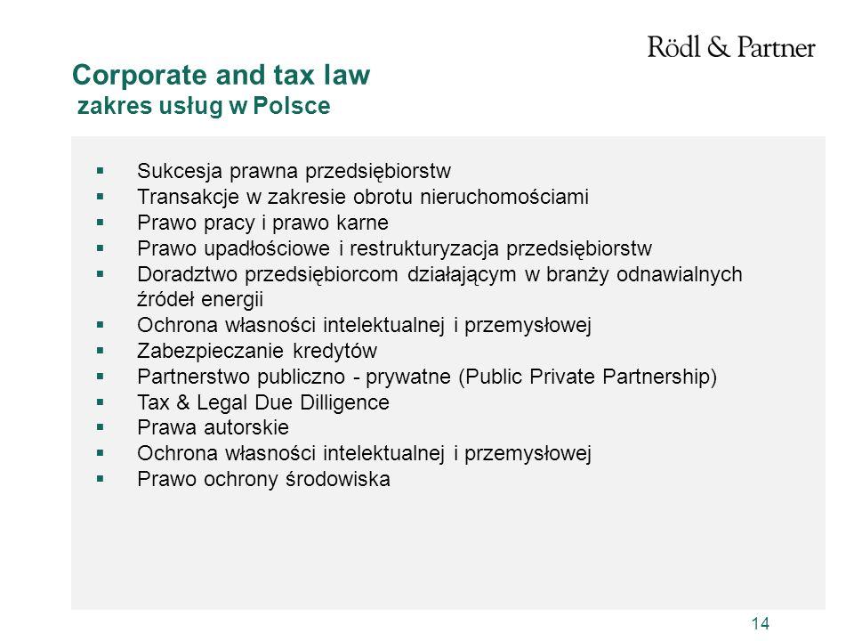 14 Sukcesja prawna przedsiębiorstw Transakcje w zakresie obrotu nieruchomościami Prawo pracy i prawo karne Prawo upadłościowe i restrukturyzacja przed