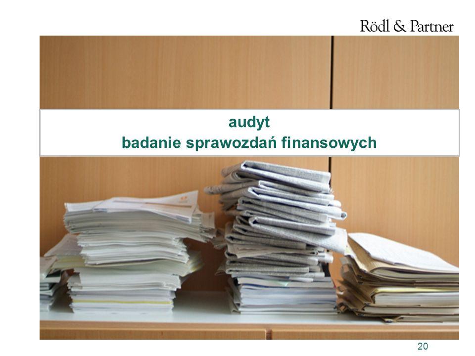 20 audyt badanie sprawozdań finansowych