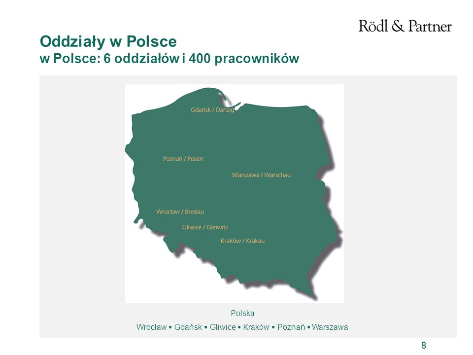 8 Oddziały w Polsce w Polsce: 6 oddziałów i 400 pracowników Polska Wrocław Gdańsk Gliwice Kraków Poznań Warszawa