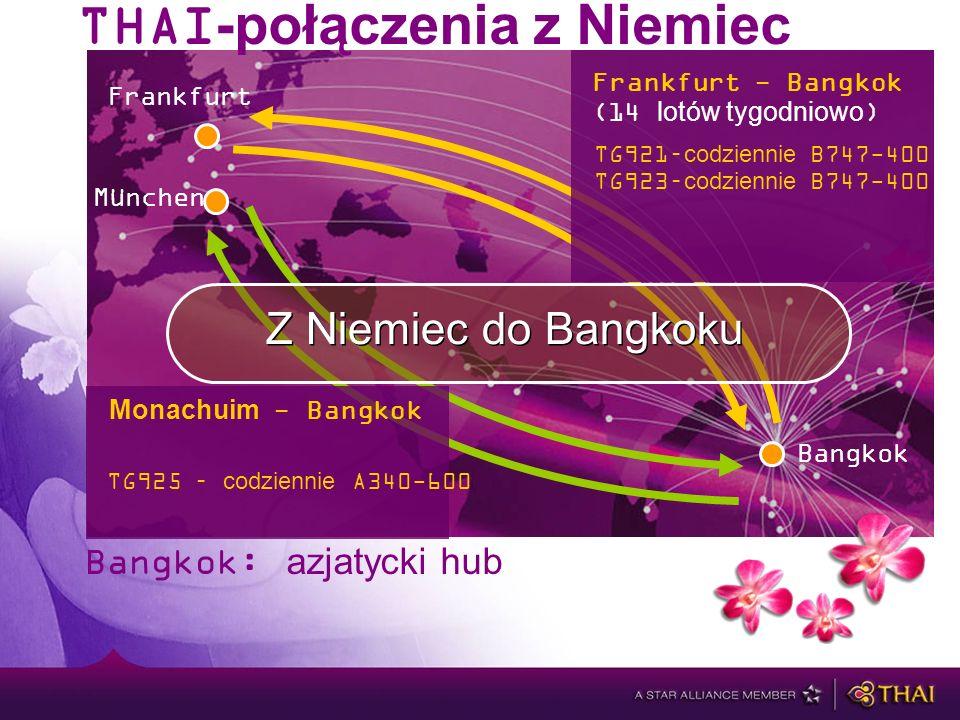 Bangkok: azjatycki hub München Frankfurt Z Niemiec do Bangkoku Bangkok THAI-połączenia z Niemiec Frankfurt - Bangkok (14 lotów tygodniowo) TG921–codziennie B747-400 TG923–codziennie B747-400 TG925 – codziennie A340-600 Monachuim - Bangkok