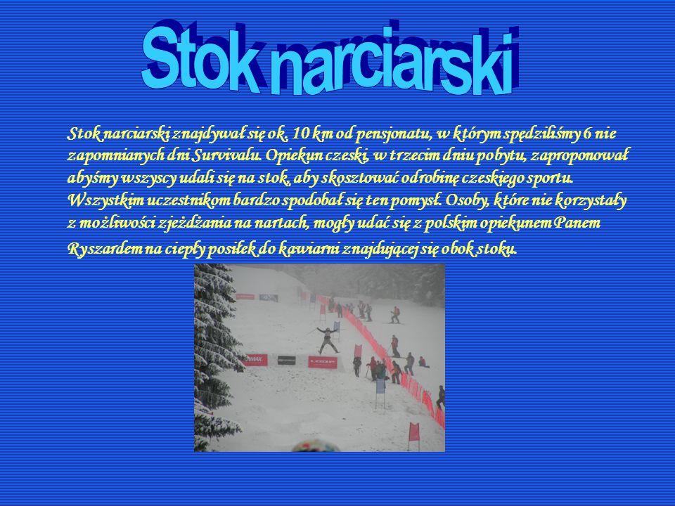 Stok narciarski znajdywał się ok. 10 km od pensjonatu, w którym spędziliśmy 6 nie zapomnianych dni Survivalu. Opiekun czeski, w trzecim dniu pobytu, z