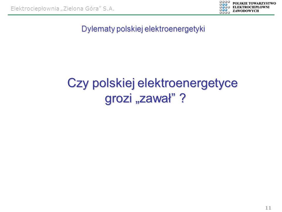 Elektrociepłownia Zielona Góra S.A. 11 Czy polskiej elektroenergetyce grozi zawał ? Czy polskiej elektroenergetyce grozi zawał ? Dylematy polskiej ele