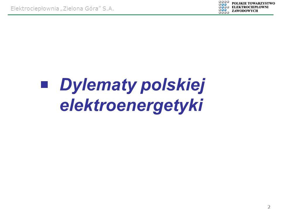 Elektrociepłownia Zielona Góra S.A. 2 Dylematy polskiej elektroenergetyki