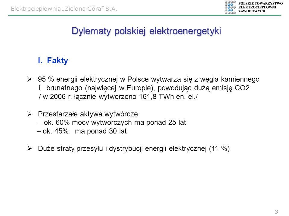 Elektrociepłownia Zielona Góra S.A. 3 I. Fakty 95 % energii elektrycznej w Polsce wytwarza się z węgla kamiennego i brunatnego (najwięcej w Europie),