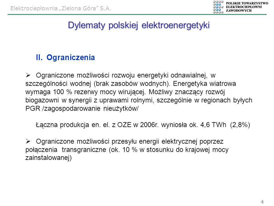Elektrociepłownia Zielona Góra S.A. 4 II. Ograniczenia Ograniczone możliwości rozwoju energetyki odnawialnej, w szczególności wodnej (brak zasobów wod