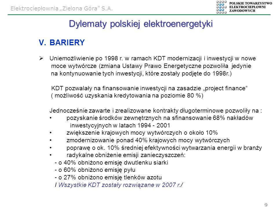 Elektrociepłownia Zielona Góra S.A. 9 V.BARIERY Uniemożliwienie po 1998 r. w ramach KDT modernizacji i inwestycji w nowe moce wytwórcze (zmiana Ustawy