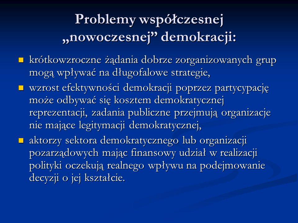 Problemy współczesnej nowoczesnej demokracji: krótkowzroczne żądania dobrze zorganizowanych grup mogą wpływać na długofalowe strategie, krótkowzroczne
