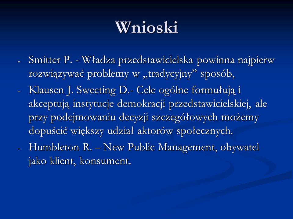 Wnioski - Smitter P. - Władza przedstawicielska powinna najpierw rozwiązywać problemy w tradycyjny sposób, - Klausen J. Sweeting D.- Cele ogólne formu