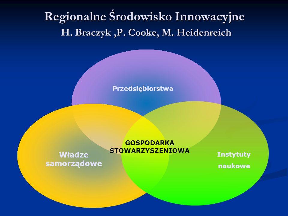 Regionalne Środowisko Innowacyjne H. Braczyk,P. Cooke, M. Heidenreich Przedsiębiorstwa Władze samorządowe Instytuty naukowe GOSPODARKA STOWARZYSZENIOW