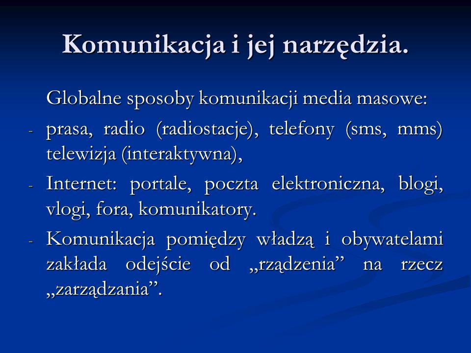 Komunikacja i jej narzędzia. Globalne sposoby komunikacji media masowe: - prasa, radio (radiostacje), telefony (sms, mms) telewizja (interaktywna), -