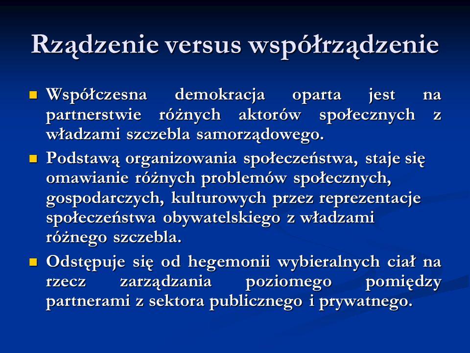 Rządzenie versus współrządzenie Współczesna demokracja oparta jest na partnerstwie różnych aktorów społecznych z władzami szczebla samorządowego. Wspó