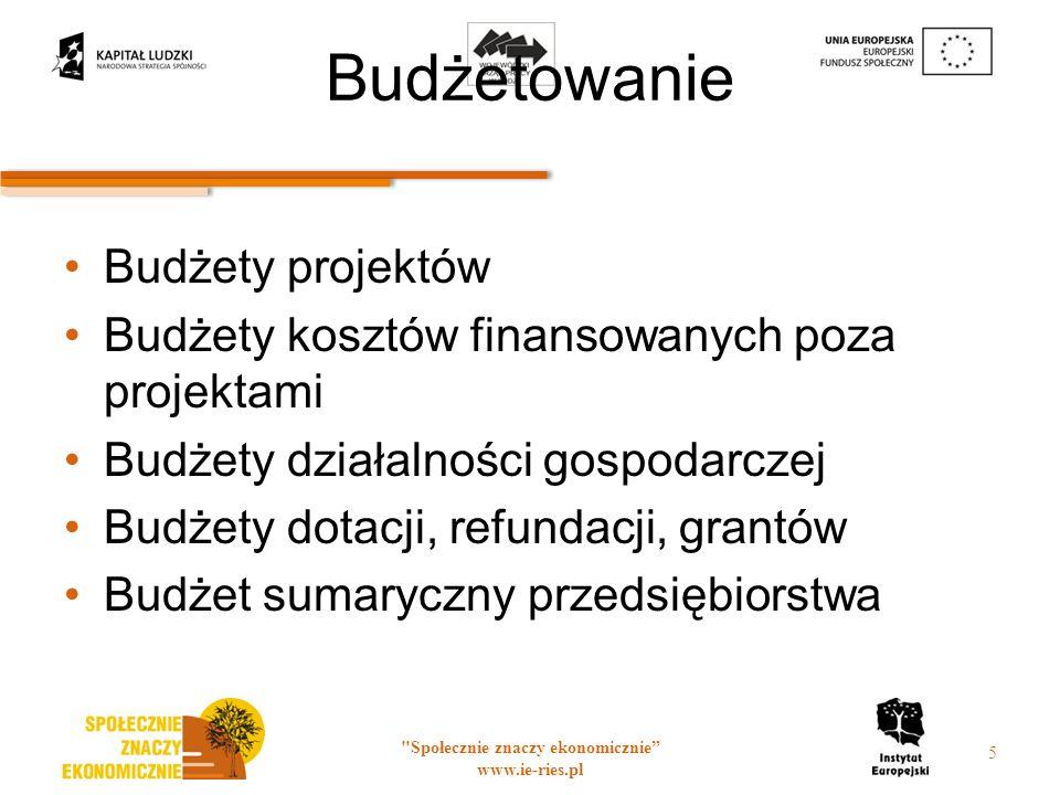 Budżetowanie Budżety projektów Budżety kosztów finansowanych poza projektami Budżety działalności gospodarczej Budżety dotacji, refundacji, grantów Budżet sumaryczny przedsiębiorstwa Społecznie znaczy ekonomicznie www.ie-ries.pl 5