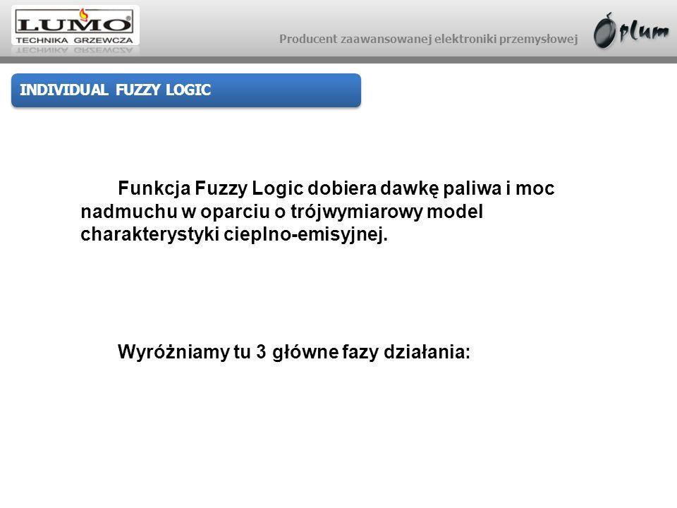 Producent zaawansowanej elektroniki przemysłowej Funkcja Fuzzy Logic dobiera dawkę paliwa i moc nadmuchu w oparciu o trójwymiarowy model charakterysty