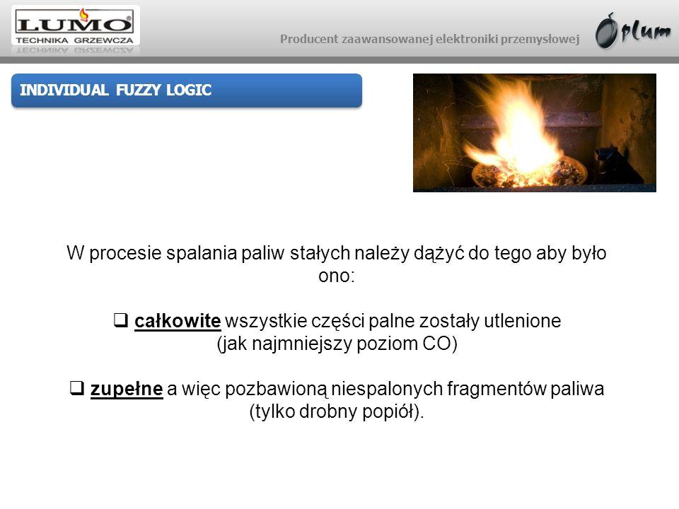 Producent zaawansowanej elektroniki przemysłowej INDIVIDUAL FUZZY LOGIC W procesie spalania paliw stałych należy dążyć do tego aby było ono: całkowite